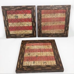 Distressed Metal and Wood Square Wall Art -3Pc.